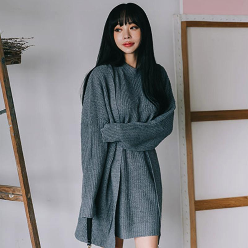 Turtle Neck Dress & Lose Cardigan Set Dress - Korean Fashion