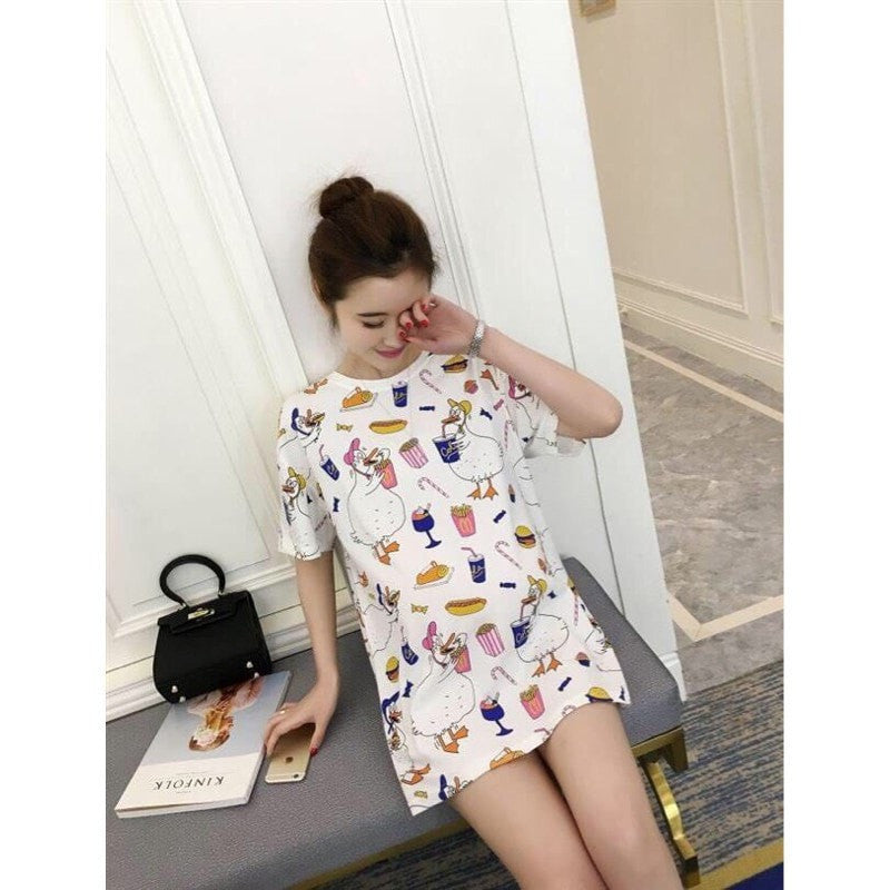 Duck Cartoon Foodie Mini Dress Dress - Korean Fashion