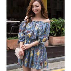 Korean Fashion - Shoes and Clothing - Floral Off Shoulder Dress - Dress -  - Gangnam Styles - 1