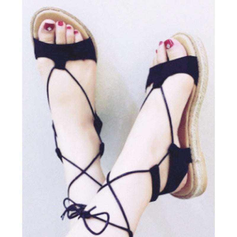 Ribbon Flat Sandals Women's Shoes - Korean Fashion
