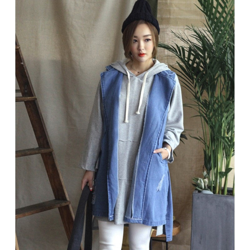 Korean Autumn Denim Vest Women's Clothing - Korean Fashion