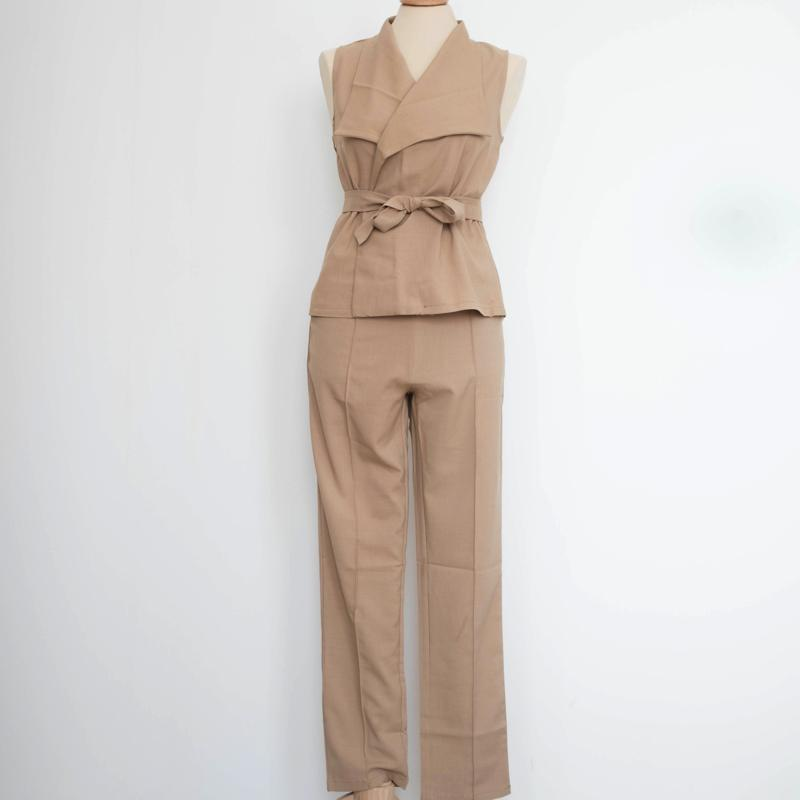 V-Neck Vest And Pants Set Dress - Korean Fashion