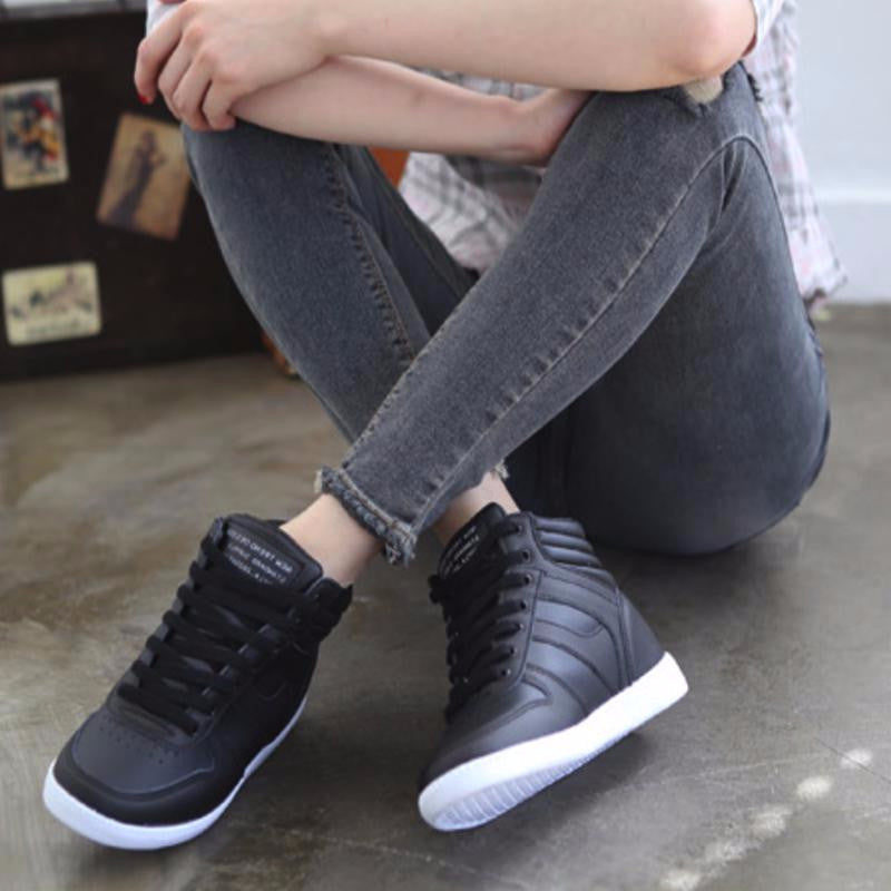 Laced Wedge Sneakers Sneakers - Korean Fashion