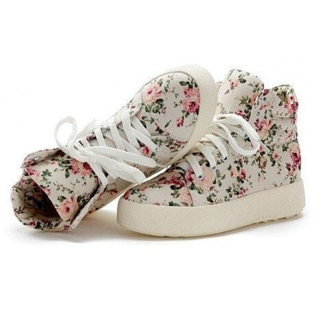 Korean Fashion - Shoes and Clothing - Floral Platform Lace Up Sneakers - Shoes -  - Gangnam Styles - 4