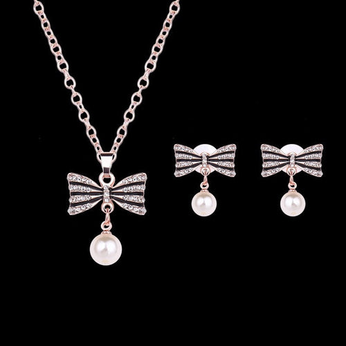 Korean Fashion - Shoes and Clothing - Bowtie Pendant Necklace and Earrings Set - Necklace -  - Gangnam Styles - 2