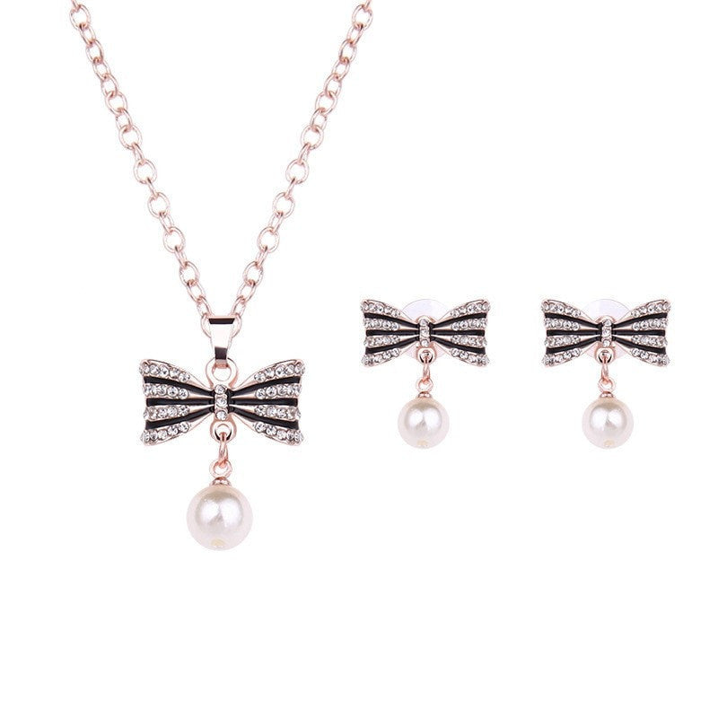Bowtie Pendant Necklace and Earrings Set Jewelery - Korean Fashion