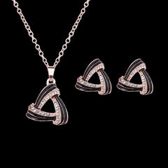 Korean Fashion - Shoes and Clothing - Infinity Gem Triangle Necklace and Earrings Set - Necklace -  - Gangnam Styles - 2