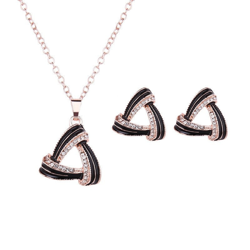 Infinity Gem Triangle Necklace and Earrings Set Jewelery - Korean Fashion