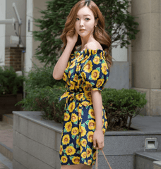 Korean Fashion - Shoes and Clothing - Sunflower Printed Off Shoulder Dress - Dress -  - Gangnam Styles - 2