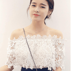 Korean Fashion - Shoes and Clothing - Off Shoulder Lace Blouse - Tops - Free Size / White - Gangnam Styles - 1