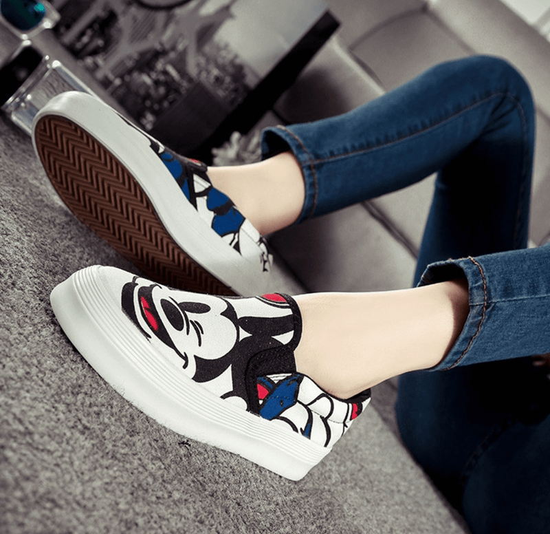 Mickey Mouse Slip-On Loafers Women's Shoes - Korean Fashion