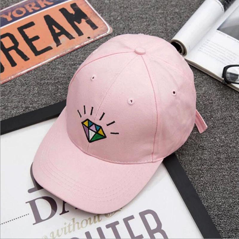 Diamond Strapback Cap Cap - Korean Fashion