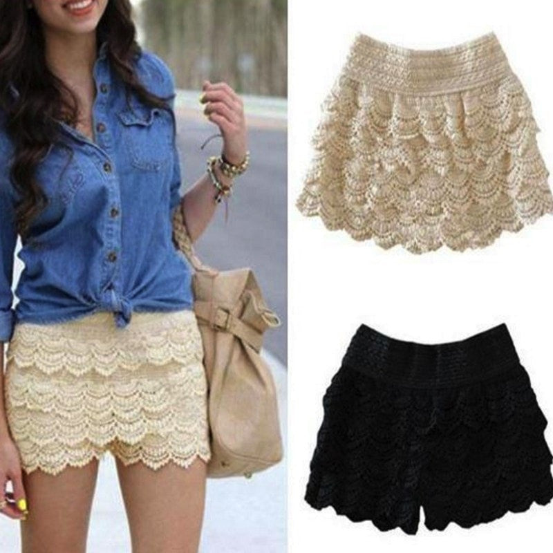 Korean Fashion - Shoes and Clothing - Mini Lace Shorts Skirt - Shorts -  - Gangnam Styles - 1