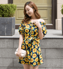 Korean Fashion - Shoes and Clothing - Sunflower Printed Off Shoulder Dress - Dress -  - Gangnam Styles - 5