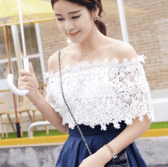 Korean Fashion - Shoes and Clothing - Off Shoulder Lace Blouse - Tops -  - Gangnam Styles - 5
