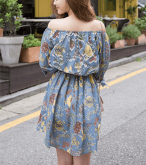 Korean Fashion - Shoes and Clothing - Floral Off Shoulder Dress - Dress -  - Gangnam Styles - 9