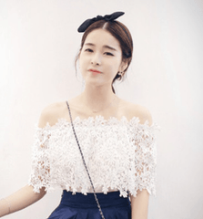Korean Fashion - Shoes and Clothing - Off Shoulder Lace Blouse - Tops -  - Gangnam Styles - 3