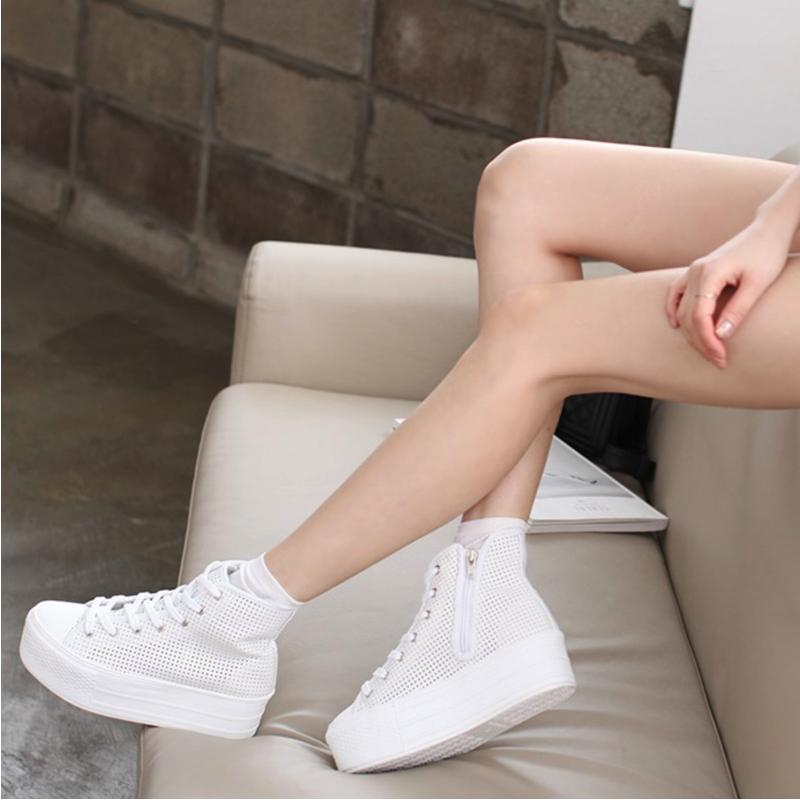 High Cut Platform Shoes Sneakers - Korean Fashion