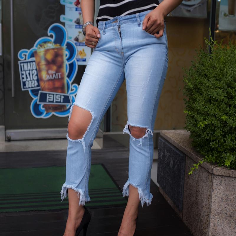Cropped Raw-Cut Jeans Jeans - Korean Fashion