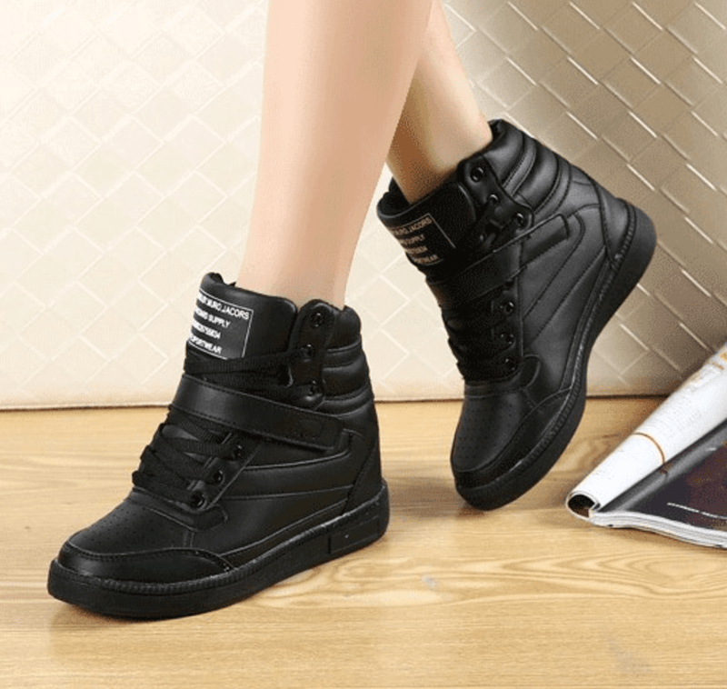 High Top Wedge Sneakers Women's Shoes - Korean Fashion