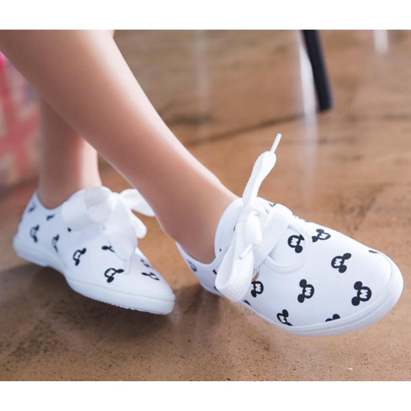 Mickey Mouse Printed Lace Shoes Flats - Korean Fashion