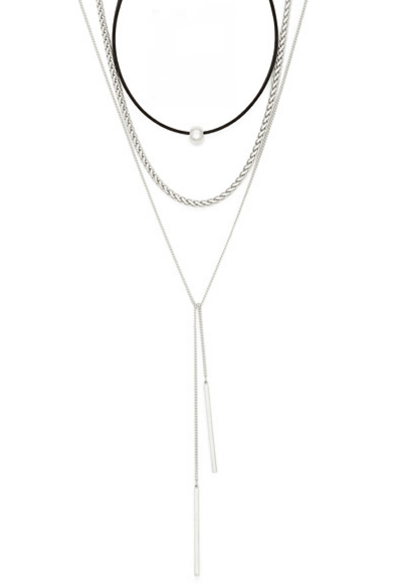 Silver Bar Three Layer Necklace Jewelery - Korean Fashion