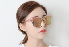 Pink Silver Mirror Sunglasses Sunglasses - Korean Fashion