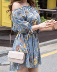 Korean Fashion - Shoes and Clothing - Floral Off Shoulder Dress - Dress -  - Gangnam Styles - 5