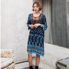 Korean Fashion - Shoes and Clothing - Boho Chic Hippie Dress - Dress - Free Size / Navy Blue - Gangnam Styles - 1