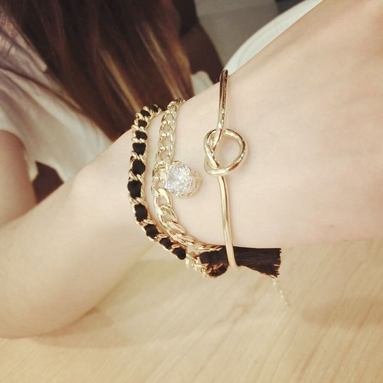 3 Piece Tassel Diamond Bracelet Jewelery - Korean Fashion