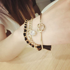 Korean Fashion - Shoes and Clothing - 3 Piece Tassel Diamond Bracelet - Necklace -  - Gangnam Styles - 2