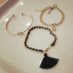 Korean Fashion - Shoes and Clothing - 3 Piece Tassel Diamond Bracelet - Necklace -  - Gangnam Styles - 3