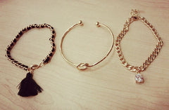 Korean Fashion - Shoes and Clothing - 3 Piece Tassel Diamond Bracelet - Necklace -  - Gangnam Styles - 4