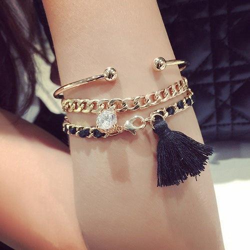 Korean Fashion - Bracelet - 3 Piece Tassel Diamond Bracelet