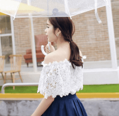 Korean Fashion - Shoes and Clothing - Off Shoulder Lace Blouse - Tops -  - Gangnam Styles - 4