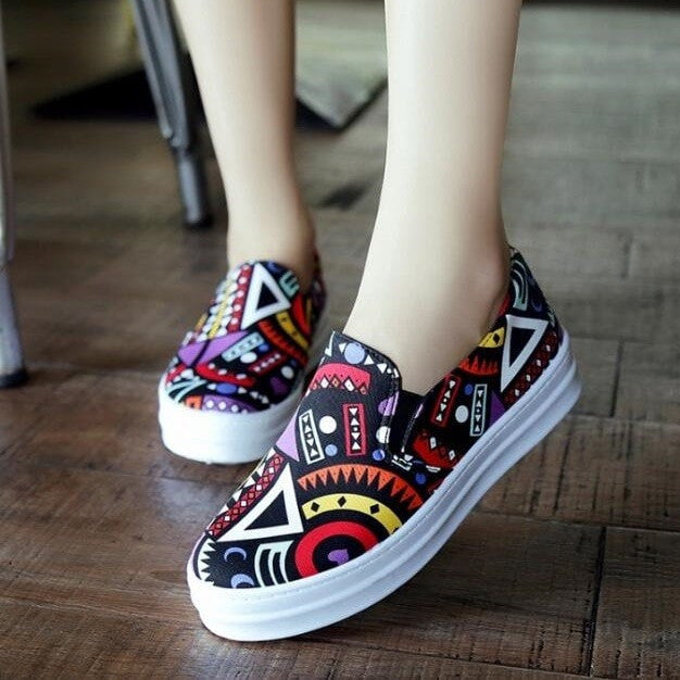Printed Pattern Loafers Women's Shoes - Korean Fashion