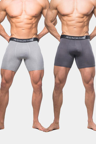 Jed North: Brooklyn Performance Boxer Brief 2 Pack - Sliver & Gray
