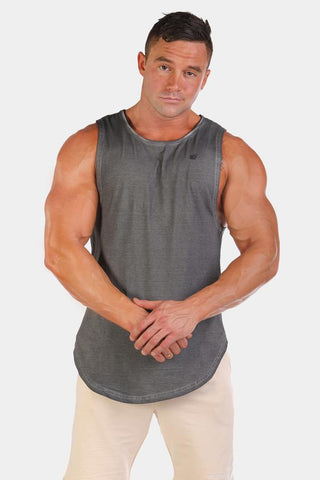 Jed North: Luxe Flex Loose Fitted Muscle Tee - Vintage Washed Gray