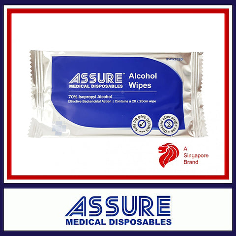 ASSURE Alcohol Wipes, 20x20cm, (100pcs/pack)