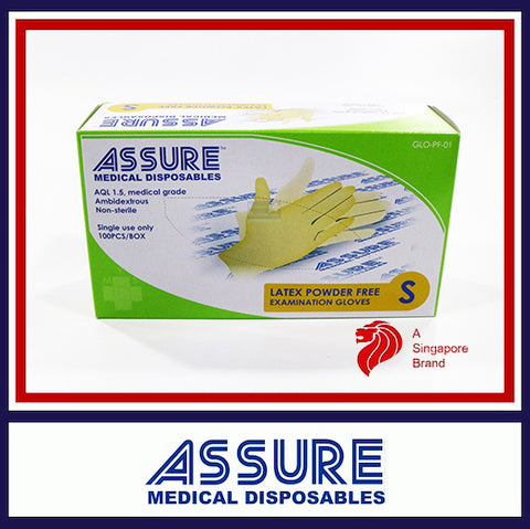ASSURE Examination Latex Gloves Powder Free (100pcs/box)