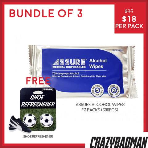 [Bundle of 3] ASSURE Alcohol Wipes, 20x20cm, (100pcs/pack) + 1 FREE Shoe Refreshener