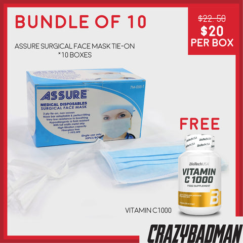 [Bundle of 10] ASSURE Surgical Face Mask 3-ply, Tie-on (50pcs) + 1 FREE VITAMIN C-1000