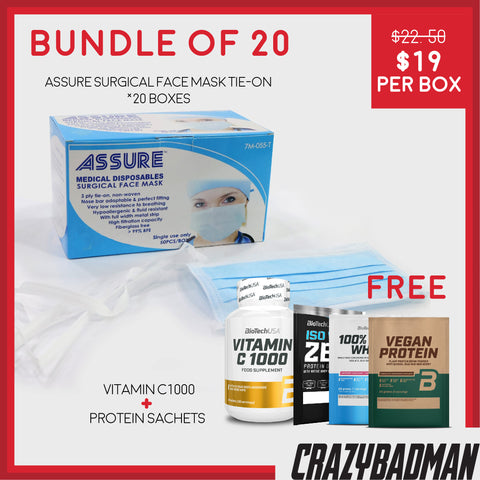 [Bundle of 20] ASSURE Surgical Face Mask 3-ply, Tie-on (50pcs) + 1 FREE VITAMIN C-1000 + 3 Protein Sachet