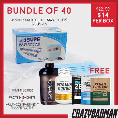 [Bundle of 40] ASSURE Surgical Face Mask 3-ply, Tie-on (50pcs) + 1 FREE VITAMIN C-1000 + 3 Protein Sachet + 1 Shaker Bottle with Compartments