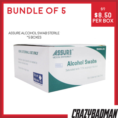[Bundle of 5] ASSURE Alcohol Swab Sterile 4cm x 4cm (200pcs/Box)