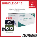 [Bundle of 10] ASSURE Alcohol Swab Sterile 4cm x 4cm (200pcs/Box) + 1 FREE Shoe Refreshener