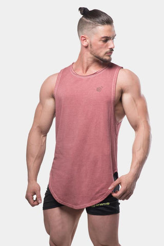 Jed North: Luxe Flex Loose Fitted Muscle Tee - Vintage Washed Red