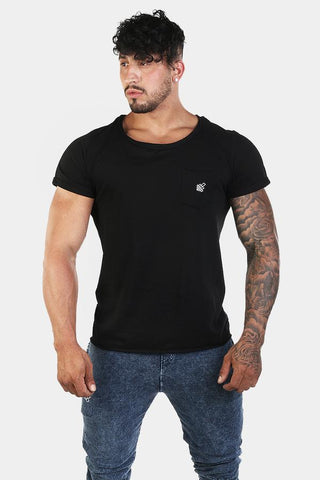 Jed North: Empire Loose Fitted Drop Tail Tee - Black