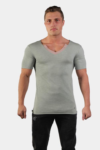 Jed North: Edge Casual V-Neck T-Shirt - Gray