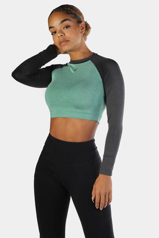 Jed North: Rhythm Fitted Long Sleeve Crop Top - Green